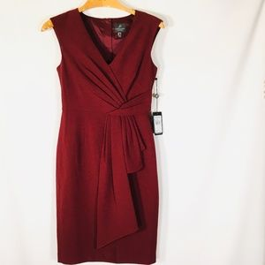Adrianna Papell Fauz Wrap Dress Red 2 NEW Sheath